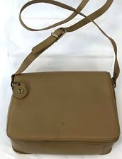 "9"" Etienne Aigner Tan Light Brown Leather Flap Close Crossbody Handbag Bag Purse"