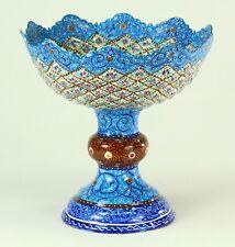 ! FINE Antique Islamic MINAKARI Mina Enamel on Copper Raised Bowl Compote