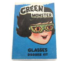 Cracker Jack Green Monster Glasses Disguise Kit Vintage Paper Prize 1950s
