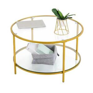 Double Glass Gold Coffee Table Side Sofa Laptop Living Room Elegant Gold Trim