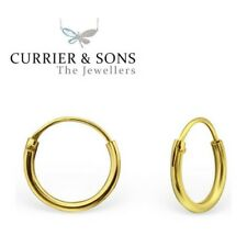 14ct Gold-Plated 925 Sterling Silver Small 10mm Hoop Sleeper Earrings (Pair)
