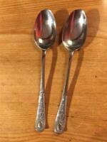 2 x Vintage Silver Plate EPNS Teaspoons Decorative Handles 13.5cm A1