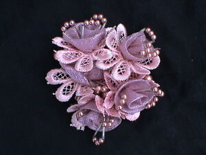ORCHID BEADED SPARKLY FLOWER SCRUNCHIE- CUTE! VERY UNIQUE! PRETTY IN THE LIGHT!