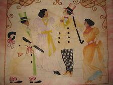 Ancien Rare Victorien Africain Américain Tapisserie Danse Haut Chapeau Nœud Cane