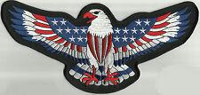 LARGE AMERICAN FLAG EAGLE MOTORCYCLE BIKER JACKET VEST MILITARY BACK PATCH