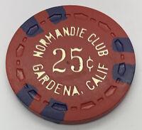 Normandie Club $0.25 casino poker chip - Gardena CA - TR King SCrown 1950s/1960s