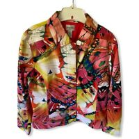 Chicos Womens Blazer Jacket Multicolor Red Butterfly Wings Snaps Stretch Lined M