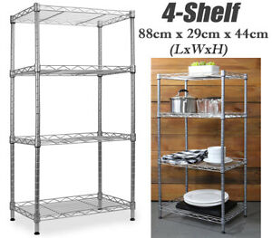 4 Tier Silver Metal Antirust Storage Rack Shelving Wire Shelf Kitchen Unit Stand