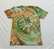 Bright rainbow green khaki orange tie dye tshirt festival tropical hawaiian