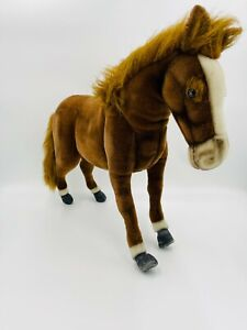 "FAO SCHWARZ Standing LifeLike Brown Horse Pony Plush Animal HANSA TOY - 25"" RARE"