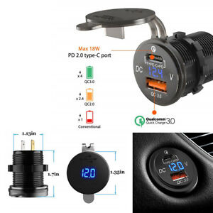 Car Truck 5V/3A USB-C & Quick Charge 3.0 Ports LED Digital Voltmeter Waterproof
