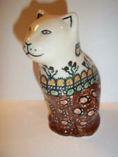 Polish Pottery Sitting Cat Kitten Figurine Handmade Boleslaweic Stoneware Poland