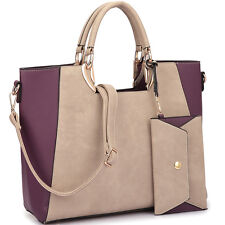 New Women Leather Work Satchel Tote Shoulder Bag Purse Square Handle w/ Wallet