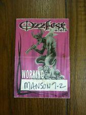 Ozzfest 2003 Working Tour Backstage Concert Pass 'Manson'