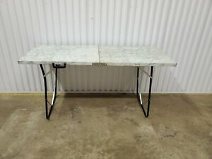 Mid Century Modern Folding Fold Up Metal Table Card Picnic Party 23.5x60 (e41)