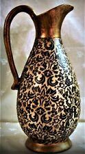 """New 12"""" Pitcher Vase - Gold Trim, Lavender Floral on Gray Background (no food)"""