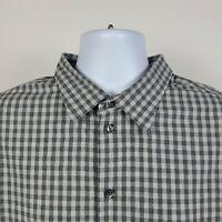 Armani Colleczioni Gray Gingham Check Mens Dress Button Shirt Size 2XL XXL