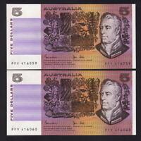 Australia R-208. (1983) Five Dollars.  Johnston/Stone..  UNC - CONSECUTIVE Pair