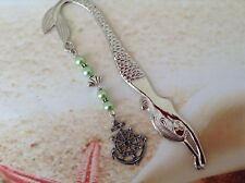 NAUTICAL SILVER TONE MERMAID HOOK PEWTER SHIPS WHEEL CHARM GREEN BEADS BOOKMARK