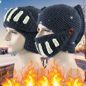 Adults Novelty Roman Winter Beanie Hats Warm Mask Knight Helmet Knitted Costumes