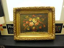 Vintage Floral Vase And Flowers Gold Wood Frame Hand Painting Art Loug #1