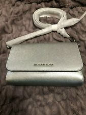 Michael Kors Jet Set Convertible Pouchette Crossbody Bag Hand Clutch Silver $248