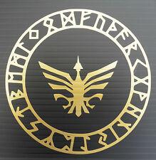 Círculo de protección Odins Runa dioses Mitos Magic Pegatinas/Coche/Ventana/Calcomanía 5373 oro