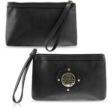 Black Zodaca Women's Casual Synthetic Leather Wristlet Pouch (BUYONEGETONEFREE)