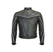 New Mens Buell Gray Black Motorcycle Biker Cowhide Leather Jacket Safety Pads