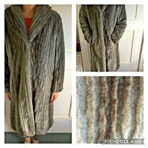 PER UNA - faux fur grey long coat - Size M 12/14