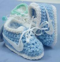 Custom Design Handmade Crochet Blue Aggressive Style Skates Baby Booties