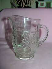 Anchor Hocking Vintage Small Clear Glass Pitcher - Star of David Design