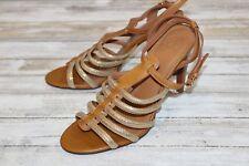 Tory Burch Gold Strap Stiletto Sandal - Women's Size 10.5 M, Tan & Gold
