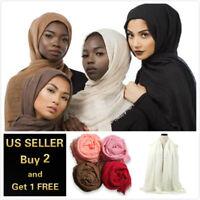 28 colors Cotton Blend Viscose Maxi Crinkle Hijab Scarf Soft Muslim 70x40 inch