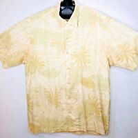 Tommy Bahama Mens Hawaiian Camp Aloha Shirt Large 100% Silk Yellow