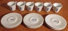 Set 6 tazzine + 6 piattini Lavazza - ceramica bianca, scritta blu