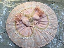 🇺🇸 Peach Pink Lace Professional Ballet Tutu Hooped Costume Aurora Sugar Doll