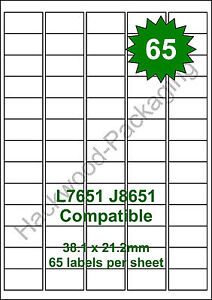 65 Labels per Sheet x 50 Sheets White Matt Copier Inkjet Laser