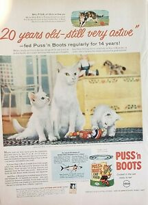 Lot of 3 Vintage 1954 Puss 'n Boots Cat Food Print Ads