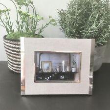 Lene Bjerre Natural Linen and Silver Photo Frame. 24 x 18.5 cm Photo10 x 15cm