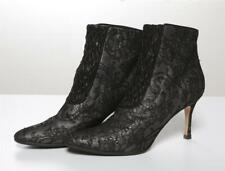 MANOLO BLAHNIK Black Lace & Leather High Heel Ankle Boots Booties Pumps 7.5-37.5