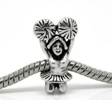 Cheerleader Sports Cheerleading Cheer Bead fits Silver European Charm Bracelets