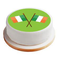 "Irish Flags St Patrick's Day - 8"" Pre-Cut Round Cake Topper Premium Icing Sheet"
