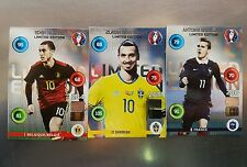 Lote 3 cards ADRENALYN XL LIMITED EDITION.EURO 2016.HAZARD.IBRAHIMOVIĆ.GRIEZMAN.