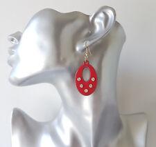 Pretty 4cm long red & black acrylic & diamante - crystal oval drop earrings