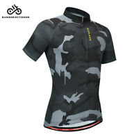 Short Sleeve Mens Cycling Jersey Full Zip Bike Cycle Riding Top Camouflage Shirt
