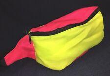 Vintage 1980's Neon Fanny Pack Multi Color Waist Belt Bag Pink & Yellow Retro