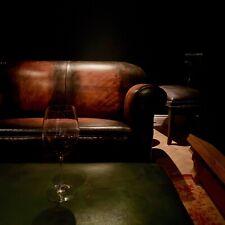 Restaurado Original Década de 1920 Art Deco Club sofás en mano teñido de cuero