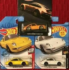 Lot of 3 911 Hot Wheels Porsche 96 Carrera White & Yellow Walmart 934 Turbo Rsr!