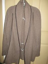 FANTASTIC WOMENS VINCE BROWN LEATHER TRIM YAC WOOL OPEN SWEATER JACKET XS LQQK
